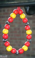 In Car Hanging Spain Spanish Country Flag Coloured Wood Wooden Beads