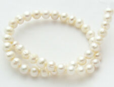 "Freshwater Pearl Ivory White 9-10mm Potato Round Loose Beads 15"" Strand W09"
