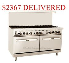"60"" inch (5 foot) 10 Open Burner Gas Range Top with Double Oven Cast Iron Grates"
