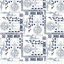 Fat Quarter Star Trek Galaxy Pop Enterprise White 100% Cotton Quilting Fabric