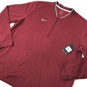 NWT Nike Mens XXL 1/4 Zip Performance Fleece Dri-Fit Football Crimson Red Maroon