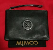 Mimco Supernatural Matte Black Leather Pouch Clutch Wallet Purse Medium BNWT