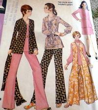 *LOVELY VTG 1970s PANTS, VEST, JACKET, BLOUSE, & SCARF Sewing Pattern 16.5/39