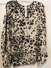 Chico's Sz 16 (3) Vintage Aminal Print Long Sleeve Piped Pullover Top! Free Ship