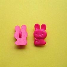 20 Rabbit Animal Kid Novelty Self Shank Sewing Buttons Cardmarking Hot Pink K260