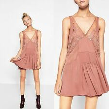 ZARA V-NECK MINI SLIP FLOUNCE DRESS WITH LACE DETAIL SIZE M REF: 7521/284