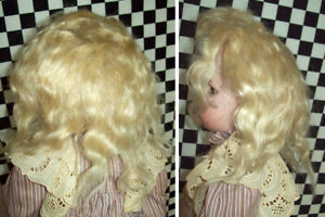"""Beautiful LIGHT BLOND Antique Mohair WIG for 24"""" DOLL with Original Pate~~~"""