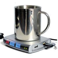 Clock Temperature Coffee Tea Beverage Cup Mug Warmer Heater Pad 4 Port USB Hub