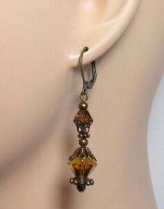Crystal Double Amber Yellow Faceted Crystal with Bronze Earrings Leaver e3