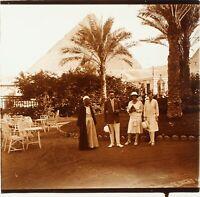 EGYPTE Voyage en Egypte Pyramide, Photo Stereo Plaque Verre ca 1910