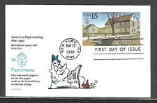 USA 1990 HAND PAINTED RITTEN HOUSE PAPERMILL RICHARD ELLIS ANIMATED FDC