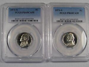 2 Proof Cameo 1971-s Jefferson Nickel. Both PCGS PR68 CAM. #40