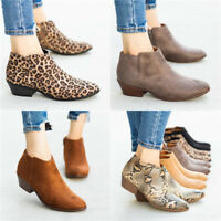 Women Low Block Heel Ankle Boots Ladies Chunky Booties Zip Up Casual Shoes Size