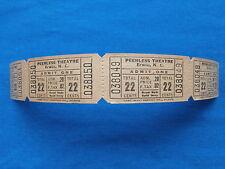 Vintage 22 Cent Peerless Theatre Tickets (Strip of 4) Drive-In Movie/Cinema - NC