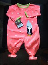NWT 0 - 3 Months Baby Pink Polka Dot Penguin Fleece Clothes Sleep PJ Pajama