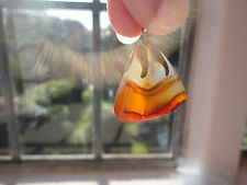 """Vintage Scottish amber agate pendant 11 gram 18"""" fine goldplated chain necklace"""