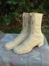 Antique Nos authentic Ladies 1800s Lace-up hightop Canvas Boots Mint *Lqqk*