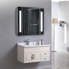 For Bathroom Wall LED Mirror Cabinet Storage Unit With Shaver Socket Demisting