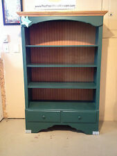 BOOKCASE, 2-tone Solid Green & Honey Stain, 3-adjustable and Solid Wood