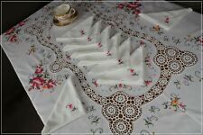 More details for lady radnor's lovely vintage hand embroidered tablecloth, antique lace & napkins