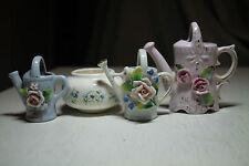 lot vtg old ceramic porcelain miniature watering can figurines pink flowers vase