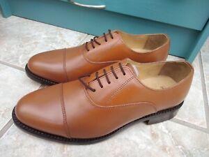 Samuel Windsor Tan Leather Oxford Brogues Size UK 9 HANDMADE
