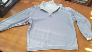 Tommy Bahama Mens Reversible Flip side  Pullover shirt coconut cream and gray LG