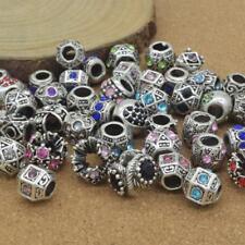 Bracelet Beads 100 pcs Mixed Random Pandora Charms Alloy Beads with Rhinestone