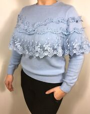 Lace Jumper Ruffle Frill Jumper Top Vintage Lace Top Fashion On Trend Summer NEW