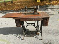 Vtg Cast Iron Metal Singer Treadle Sewing Machine Iron Base wood Drawers Table