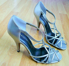782b957f4 FRENCH CONNECTION STRAPPY SANDALS SHOES - METALLIC PEWTER COLOURS - SIZE 6  39
