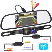 "Car 5"" Mirror Monitor Wireless Reverse Safe Backup License Plate Camera Kit"