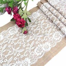 10Pcs Vintage Wedding Burlap Table Runner & White Flower Lace Natural Jute Decor