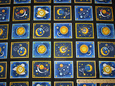 "Starlight Solar System Star Sun Celestial Planets Moon Fabric 23"" Pnl  #1029M"