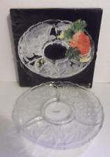 "Savoir Vivre Luscious Crystal Chip & Dip 14"" Platter WY098 581 Fruit Patter NIB"
