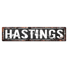 SLND1183 HASTINGS MAN CAVE Street Rustic Chic Sign Home man cave Decor Gift