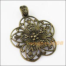 1 New Flower Antiqued Bronze Bail Bead Fit Bracelet Chrams Connectors 53x67mm