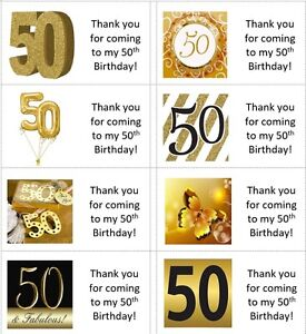 40x gold personalised 50th/50 year old labels/stickers/birthday/party/sweets/bag