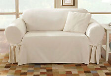 Sure Fit Cotton Duck Loveseat Slipcover in Natural Box Style Seat Cushion 1Piece