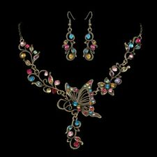 Charm Retro Wedding Bridal Crystal Butterfly Women Necklace Earrings Set Jewelry