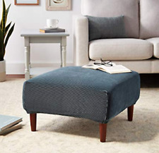 Sure Fit Stretch Stripe Ottoman Slipcover in Navy Blue