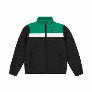 FILA Piselli Rembourré Veste Homme Vert Noir Blanc Fermeture Éclair Extérieur