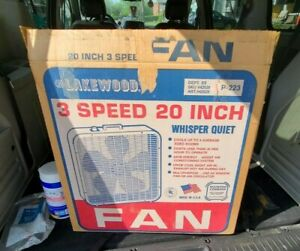 "Vintage 20"" Lakewood P-223 3 Speed Metal Box Fan USA Made Clean in Original Box"