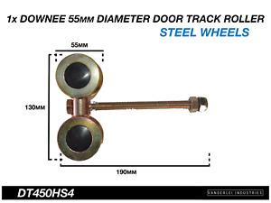 Downee Shed Door Track Roller 4 Wheel Steel Carriage 55mm Diameter Wheels