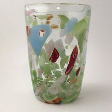 Art Glass Vase Spatter Fused Clear Multi Colored on Clear Green Pink Large
