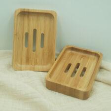 KE_ Simple Bamboo Bathroom Shower Soap Tray Dish Plate Draining Storage Holder