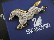 SIGNED SWAROVSKI PAVE' CRYSTAL HORSE PIN ~ BROOCH RETIRED RARE NEW IN BOX