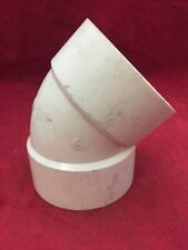 """One New Plastic Pipe Fitting Elbow 45 Degree 4"""" White PVC"""