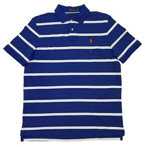 Polo Ralph Lauren Men's Royal Stripe Classic Fit Mesh Short Sleeve Polo Shirt