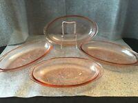 PINK Depression Glass Relish Plates Lot of 4